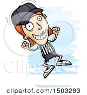 Clipart Of A Jumping White Female Referee Royalty Free Vector Illustration