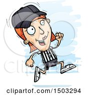 Clipart Of A Running White Female Referee Royalty Free Vector Illustration