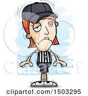 Clipart Of A Sad White Female Referee Royalty Free Vector Illustration