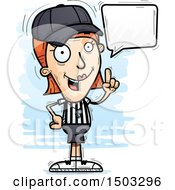 Clipart Of A Talking White Female Referee Royalty Free Vector Illustration by Cory Thoman
