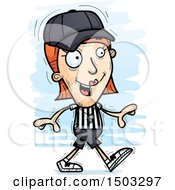 Clipart Of A Walking White Female Referee Royalty Free Vector Illustration