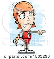 Clipart Of A Mad Pointing White Female Rugby Player Royalty Free Vector Illustration