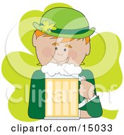 Ginger Haired Male Irish Leprechaun In Green Drinking A Frothy Mug Of Beer Clipart Illustration
