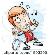 Clipart Of A White Female Rugby Player Doing A Happy Dance Royalty Free Vector Illustration