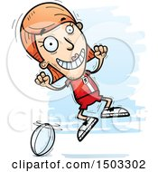 Clipart Of A Jumping White Female Rugby Player Royalty Free Vector Illustration