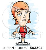 Clipart Of A Sad White Female Rugby Player Royalty Free Vector Illustration