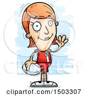 Clipart Of A Waving White Female Rugby Player Royalty Free Vector Illustration