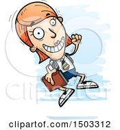 Clipart Of A Jumping White Female College Student Royalty Free Vector Illustration