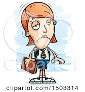 Clipart Of A Sad White Female College Student Royalty Free Vector Illustration