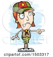Clipart Of A Mad Pointing White Female Scout Royalty Free Vector Illustration