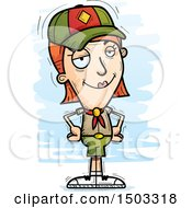Clipart Of A Confident White Female Scout Royalty Free Vector Illustration