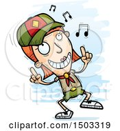 Clipart Of A White Female Scout Doing A Happy Dance Royalty Free Vector Illustration