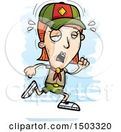 Clipart Of A Tired Running White Female Scout Royalty Free Vector Illustration