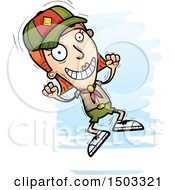 Clipart Of A Jumping White Female Scout Royalty Free Vector Illustration