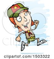 Clipart Of A Running White Female Scout Royalty Free Vector Illustration
