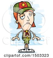 Clipart Of A Sad White Female Scout Royalty Free Vector Illustration