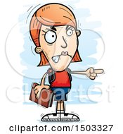 Clipart Of A Mad Pointing White Female Student Royalty Free Vector Illustration