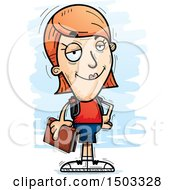 Clipart Of A Confident White Female Student Royalty Free Vector Illustration