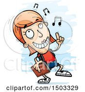 Clipart Of A White Female Student Doing A Happy Dance Royalty Free Vector Illustration