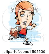 Clipart Of A Tired Running White Female Student Royalty Free Vector Illustration