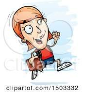 Clipart Of A Running White Female Student Royalty Free Vector Illustration