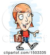 Clipart Of A Walking White Female Student Royalty Free Vector Illustration