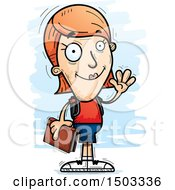 Clipart Of A Waving White Female Student Royalty Free Vector Illustration