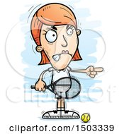 Clipart Of A Mad Pointing Caucasian Woman Tennis Player Royalty Free Vector Illustration