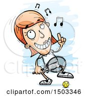 Clipart Of A Dancing Caucasian Woman Tennis Player Royalty Free Vector Illustration