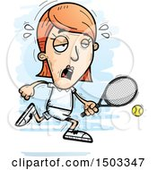 Clipart Of A Tired Running Caucasian Woman Tennis Player Royalty Free Vector Illustration
