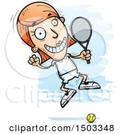 Clipart Of A Jumping Excited Caucasian Woman Tennis Player Royalty Free Vector Illustration
