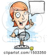 Clipart Of A Talking Caucasian Woman Tennis Player Royalty Free Vector Illustration