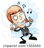 Clipart Of A Dancing Happy Caucasian Business Woman Royalty Free Vector Illustration
