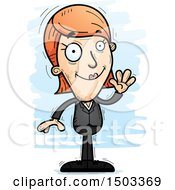 Clipart Of A Waving Caucasian Business Woman Royalty Free Vector Illustration