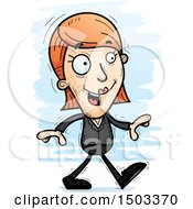 Clipart Of A Walking Caucasian Business Woman Royalty Free Vector Illustration
