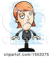 Clipart Of A Sad Caucasian Business Woman Royalty Free Vector Illustration