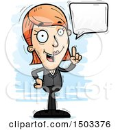 Clipart Of A Talking Caucasian Business Woman Royalty Free Vector Illustration