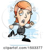 Clipart Of A Tired Running Caucasian Business Woman Royalty Free Vector Illustration