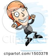 Clipart Of A Jumping Caucasian Business Woman Royalty Free Vector Illustration