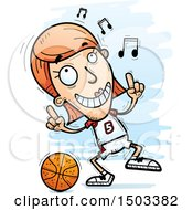 Clipart Of A White Female Basketball Player Doing A Happy Dance Royalty Free Vector Illustration by Cory Thoman