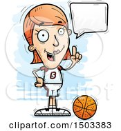 Clipart Of A Talking White Female Basketball Player Royalty Free Vector Illustration by Cory Thoman