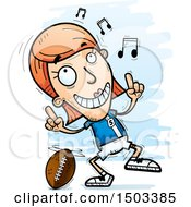 Clipart Of A White Female Football Player Doing A Happy Dance Royalty Free Vector Illustration by Cory Thoman