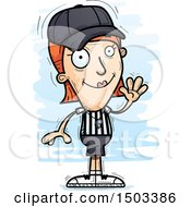 Clipart Of A Waving White Female Referee Royalty Free Vector Illustration