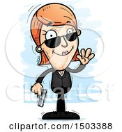 Clipart Of A Waving Caucasian Woman Secret Service Agent Royalty Free Vector Illustration
