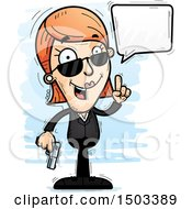 Clipart Of A Talking Caucasian Woman Secret Service Agent Royalty Free Vector Illustration