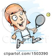 Clipart Of A Running Caucasian Woman Tennis Player Royalty Free Vector Illustration