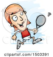 Clipart Of A Running Caucasian Woman Badminton Player Royalty Free Vector Illustration by Cory Thoman