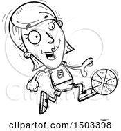 Clipart Of A Black And White Running White Female Basketball Player Royalty Free Vector Illustration