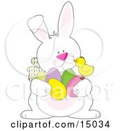 Cute Yellow Baby Chick Sitting Chatting With A White Easter Bunny Who Is Carrying An Armful Of Colored Easter Eggs Clipart Illustration by Maria Bell