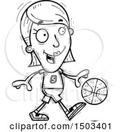 Clipart Of A Black And White Dribbling White Female Basketball Player Royalty Free Vector Illustration